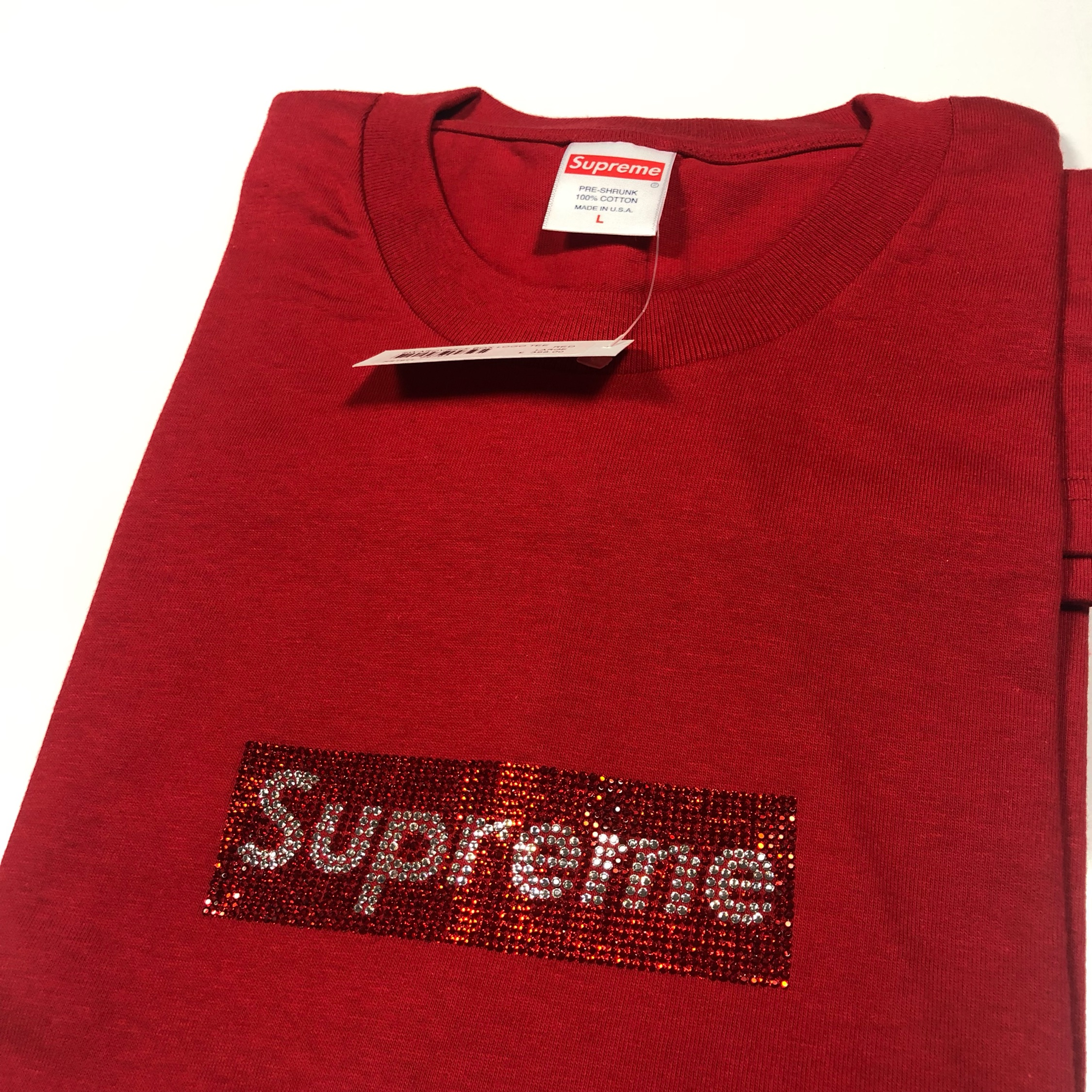 Supreme Swarovski Box Logo T Shirt Red Large New