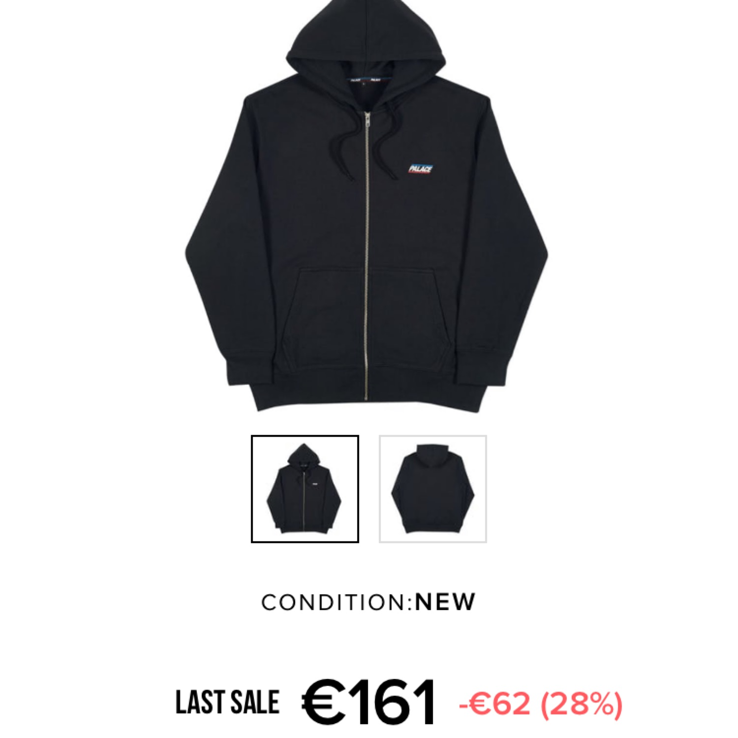Palace Basically A Zip Hood (Ss18) Black