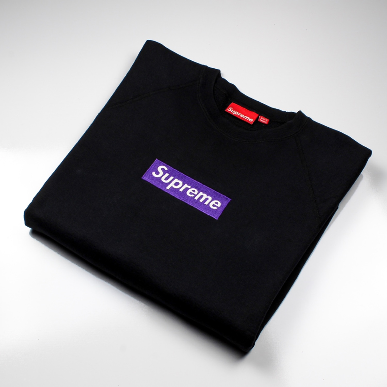 Purple On Black Supreme Box Logo Crewneck