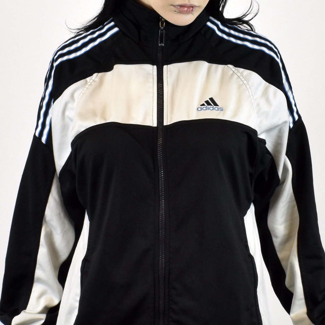 03ceaa7fa4380 Unisex Vintage Adidas tracksuit track jacket in black and white size M