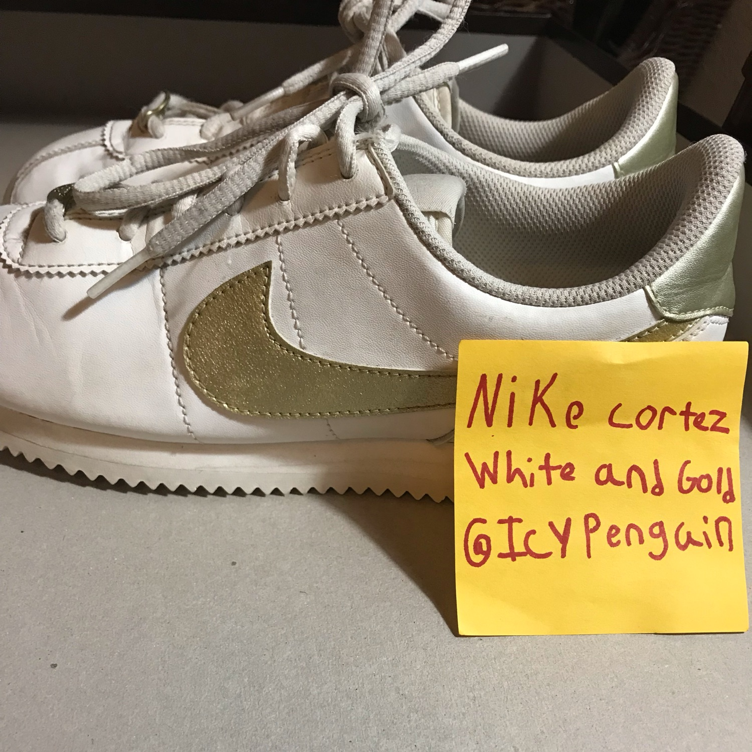 Nike Cortez White And Gold