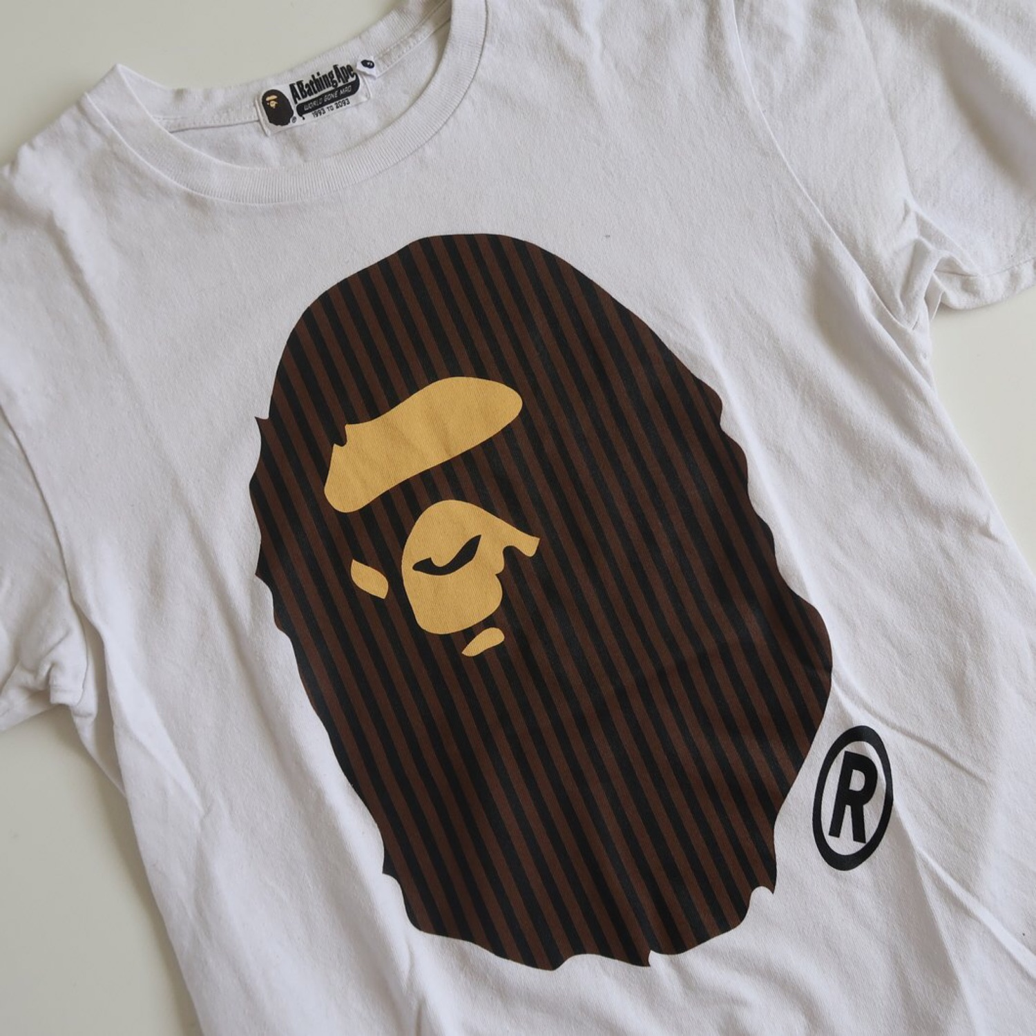 Bape Striped Ape Head Tee (Used - Small)