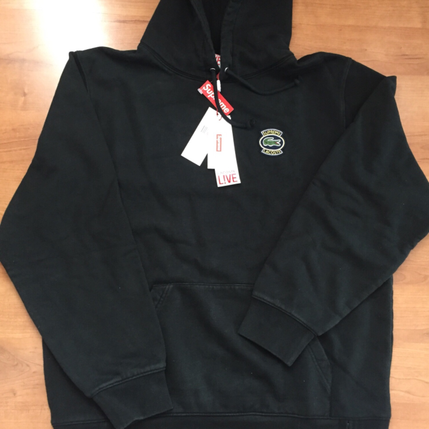 Supreme X Lacoste Hooded Black Sweatshirt