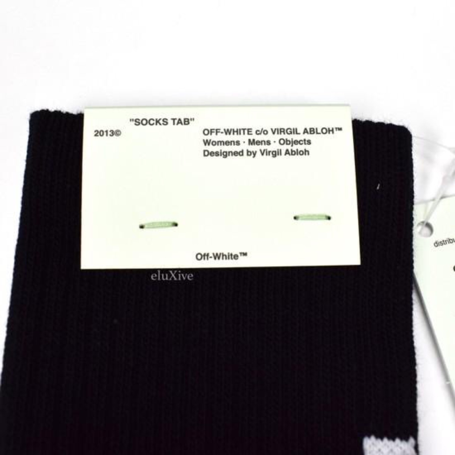 Off-White Black Quote Logo Socks Nwt