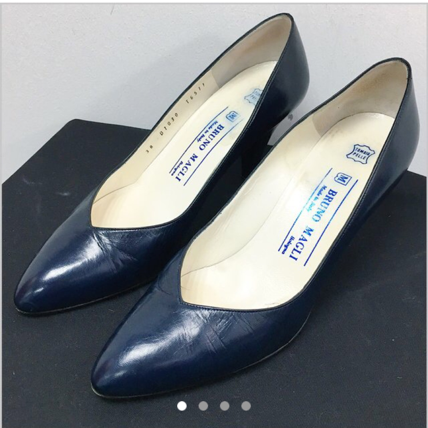 Bruno Magli Navy Leather Court Shoes