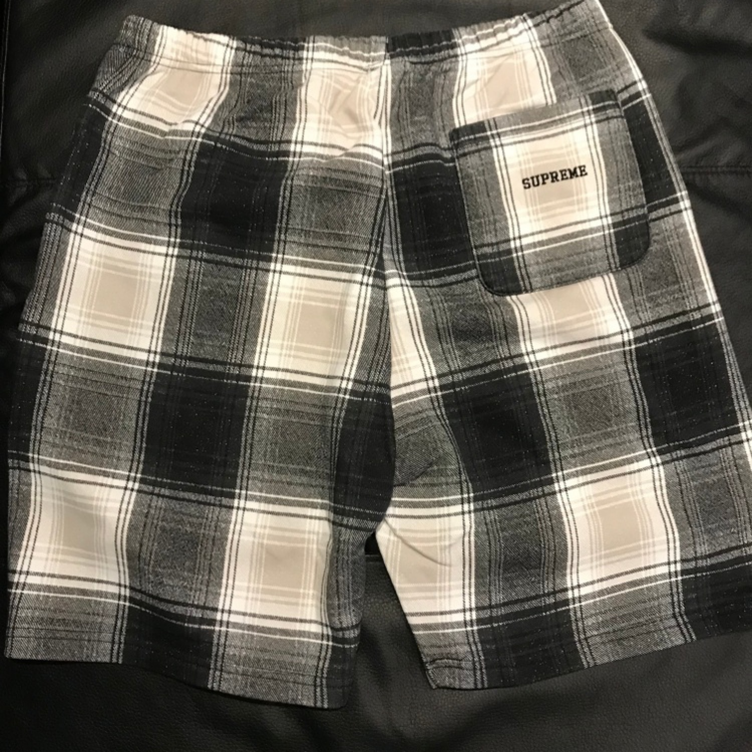 Supreme X Nike Plaid Sweat Shorts Black Medium