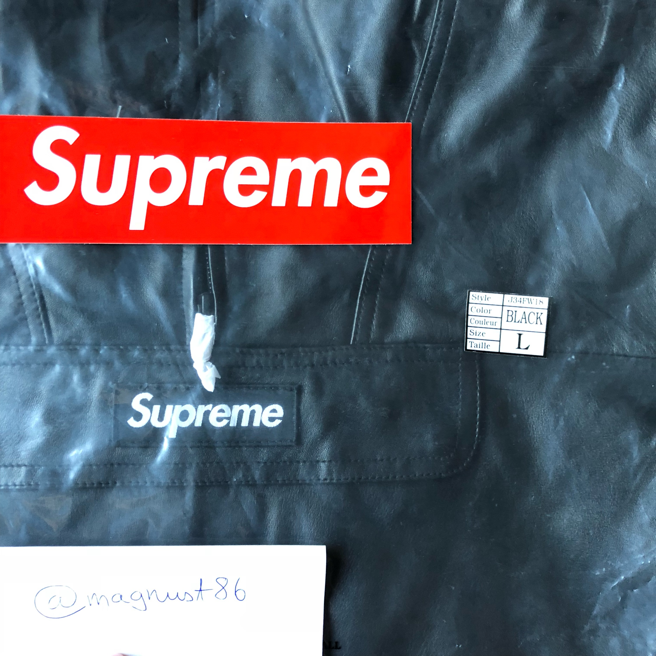 Supreme Leather Anorak L Black Box Logo