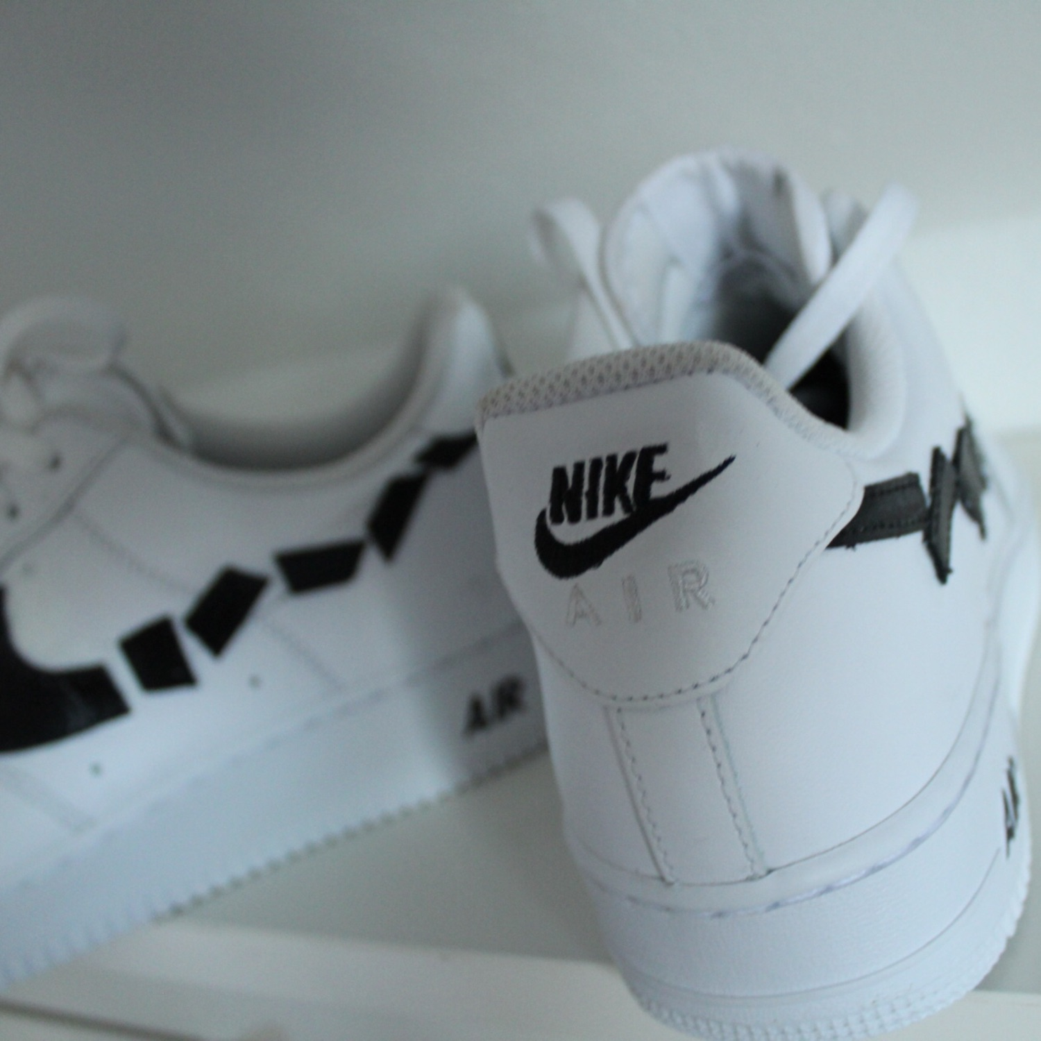 Af1 Custom Cut Swoosh Black And White