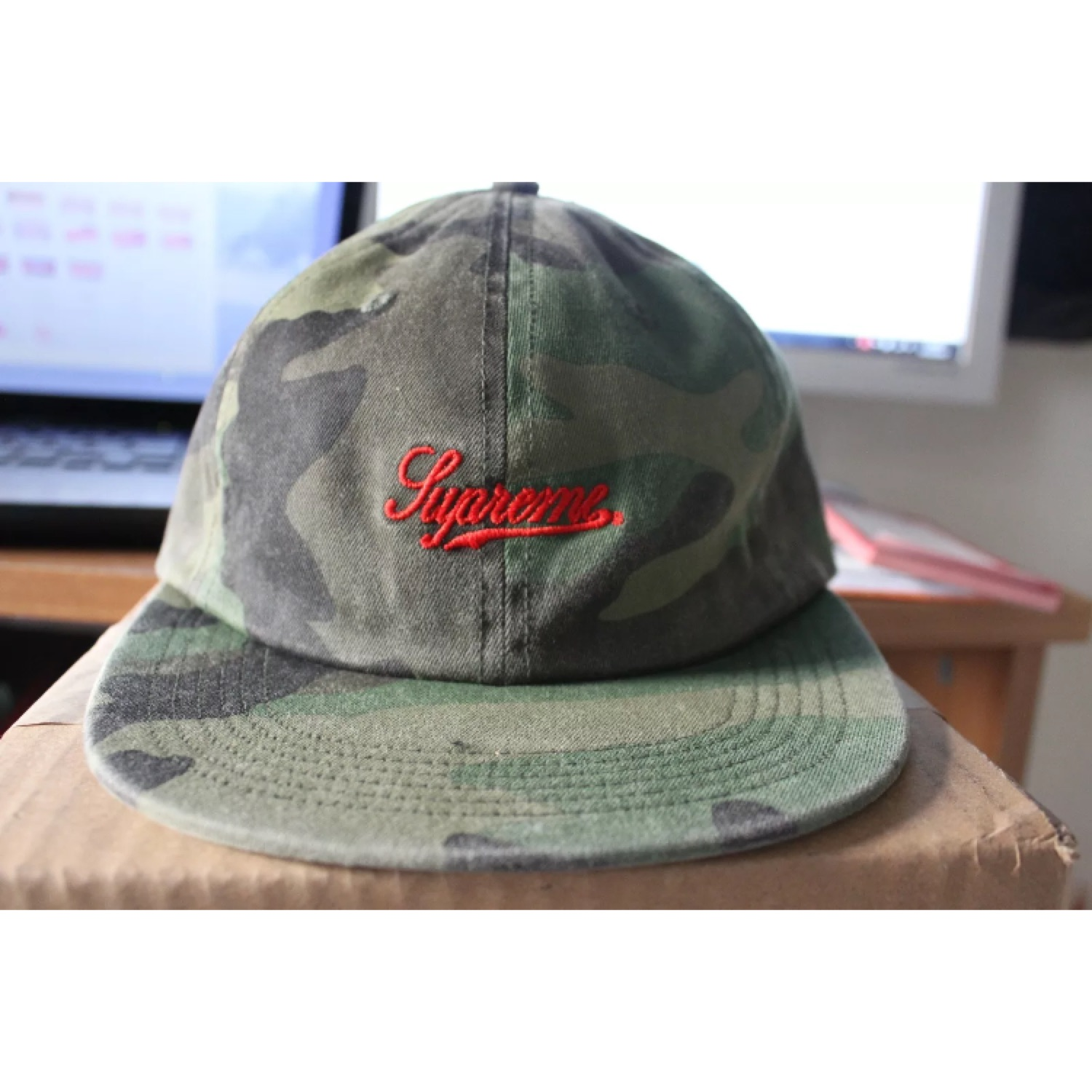 Supreme Script Logo 6-Panel Woodland Camo Hat