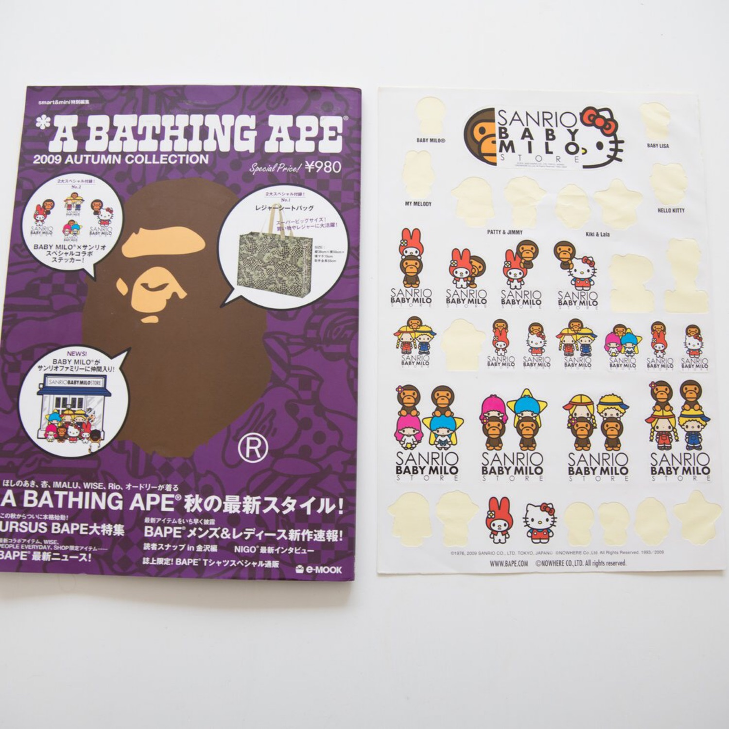 Bape Autumn 2009 Collection Magazine Sticker Sheet