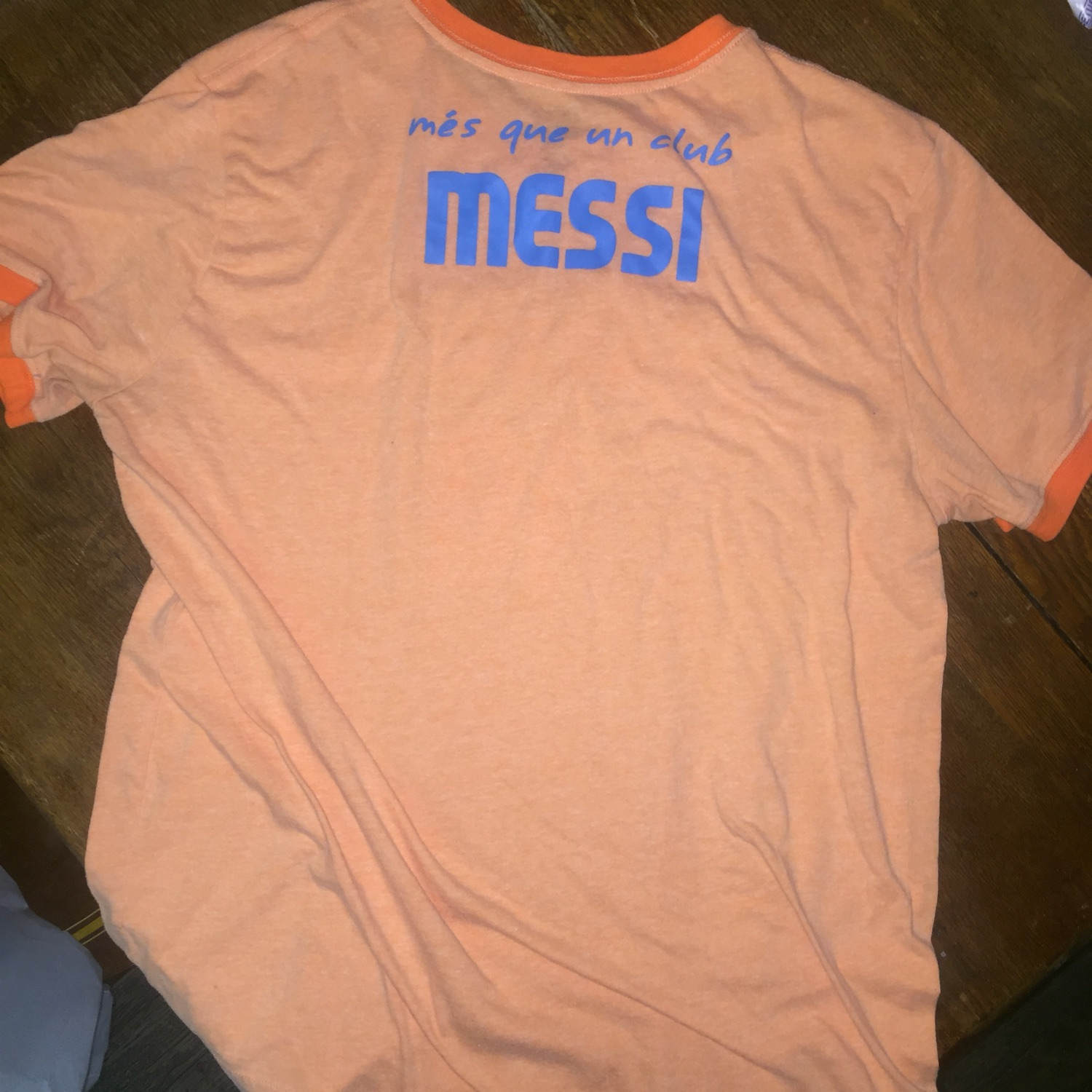 Fc Barcelona Messi Vneck T-Shirt Jersey Orange