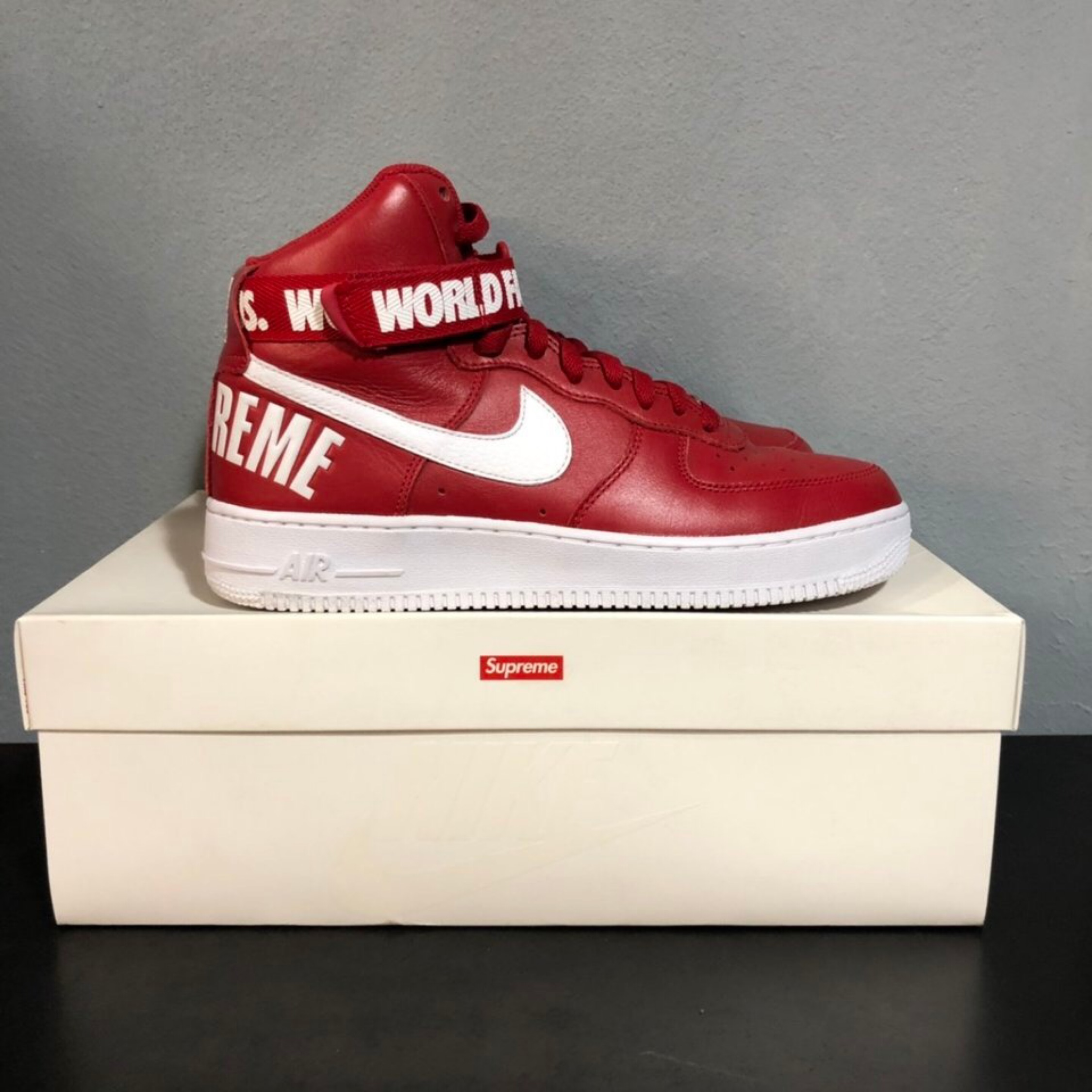 Nike Af1 High X Supreme  World Famous 2012 Red