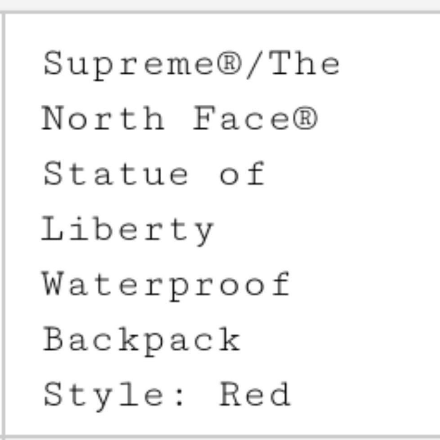 Supreme X Tnf/ Backpack / Statue Of Liberty /Red