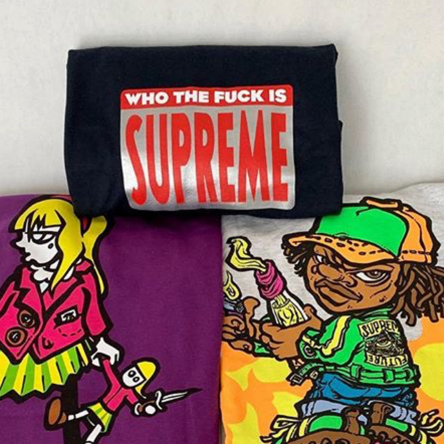 Supreme Who The F*Ck Tee Navy L
