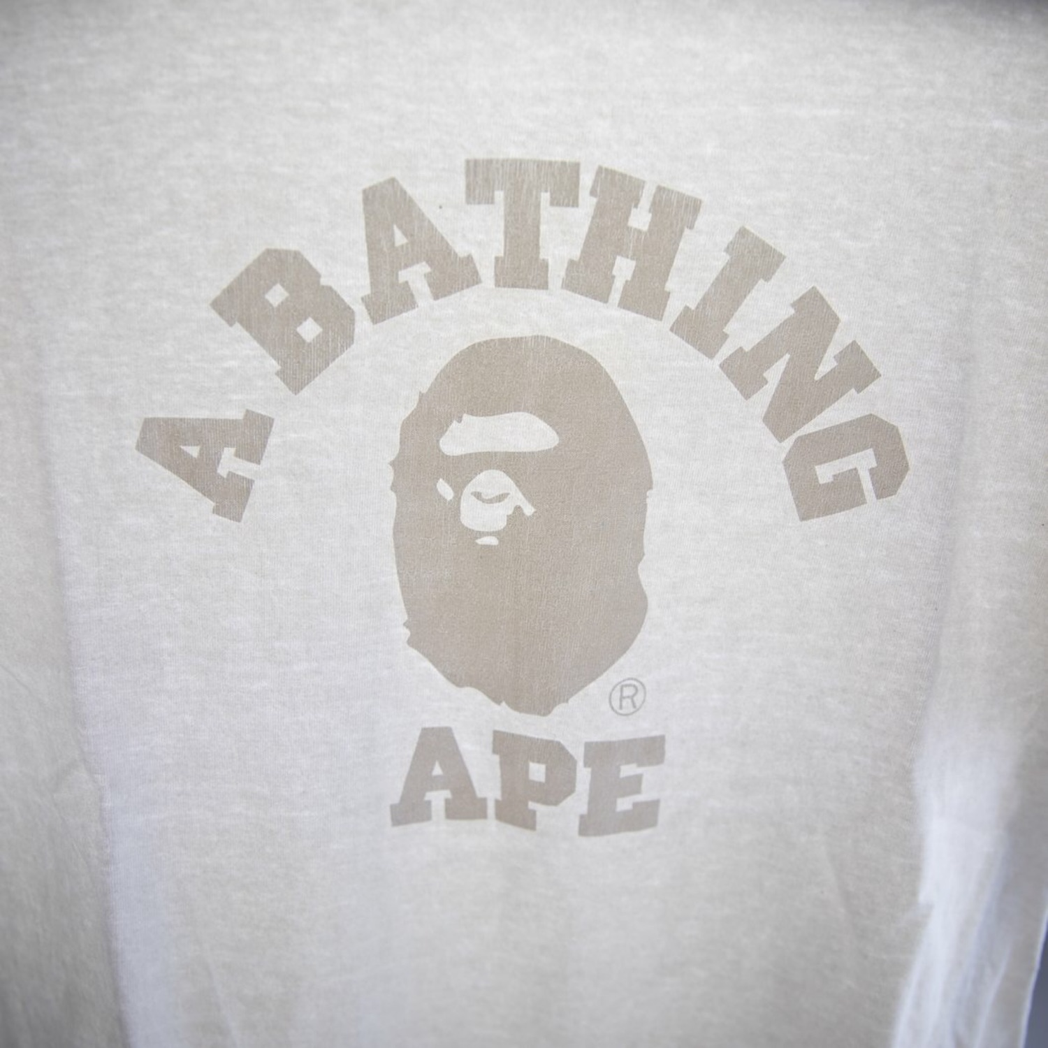 Bape White On White College Tee (Used - M)