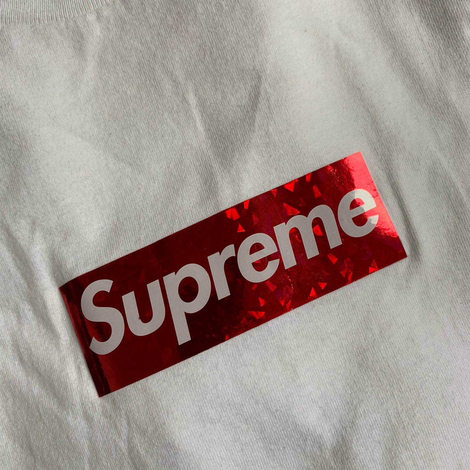 Supreme Box Logo Tee Holographic Red On White 2006