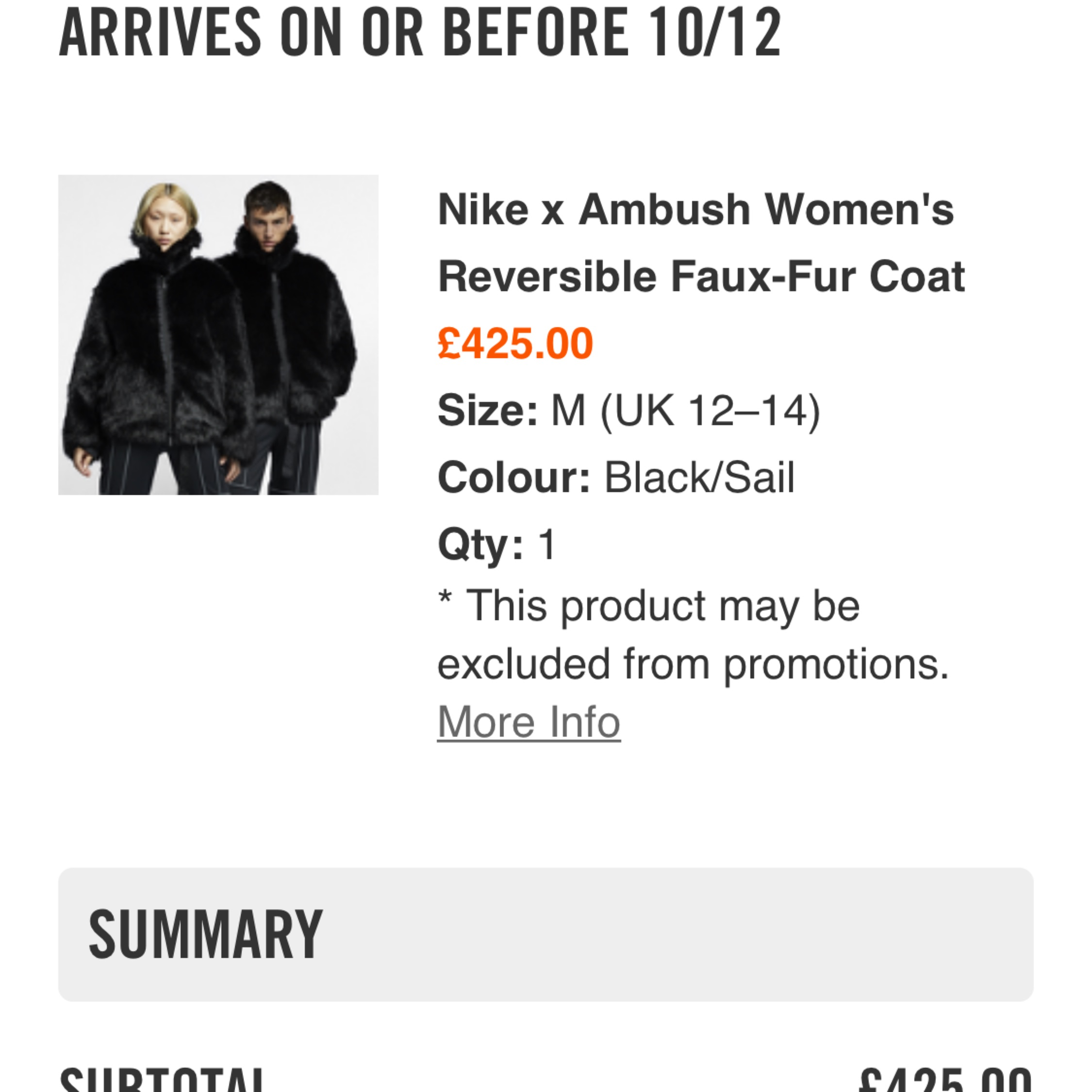 14edca28cb76 Nike X Ambush Reversible Faux-Fur Coat *Unisex*