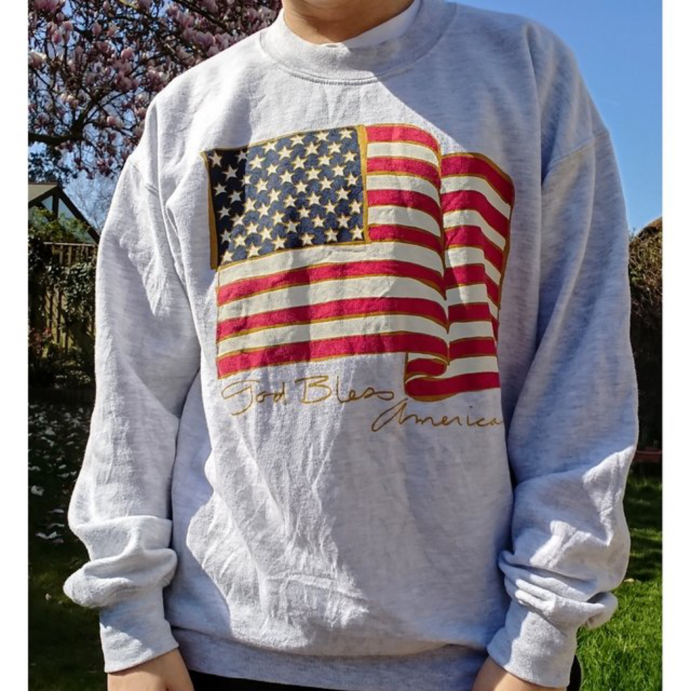 Grey Usa Flag American Sweatshirt