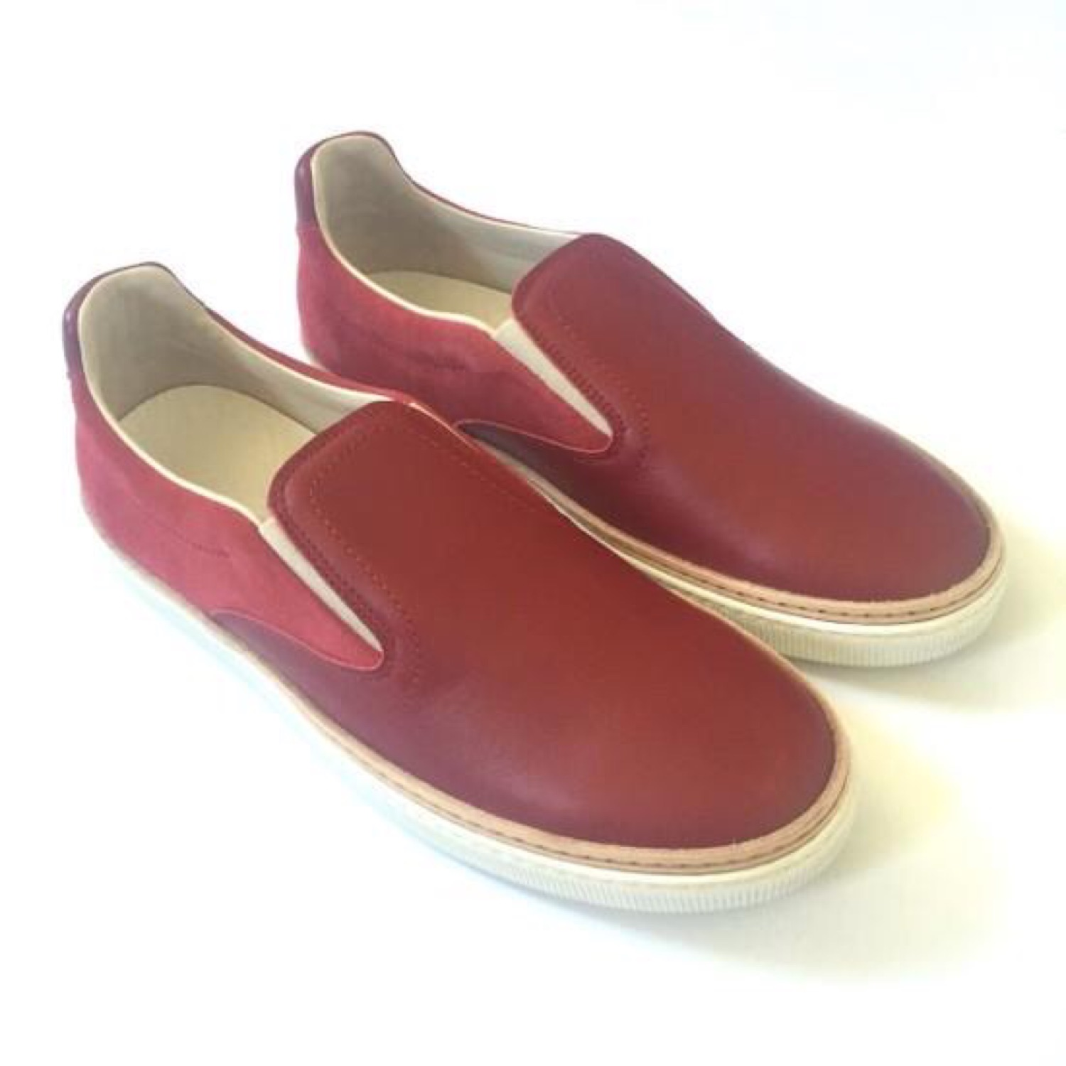 Maison Margiela Red Leather Slip On Sneakers Nwt