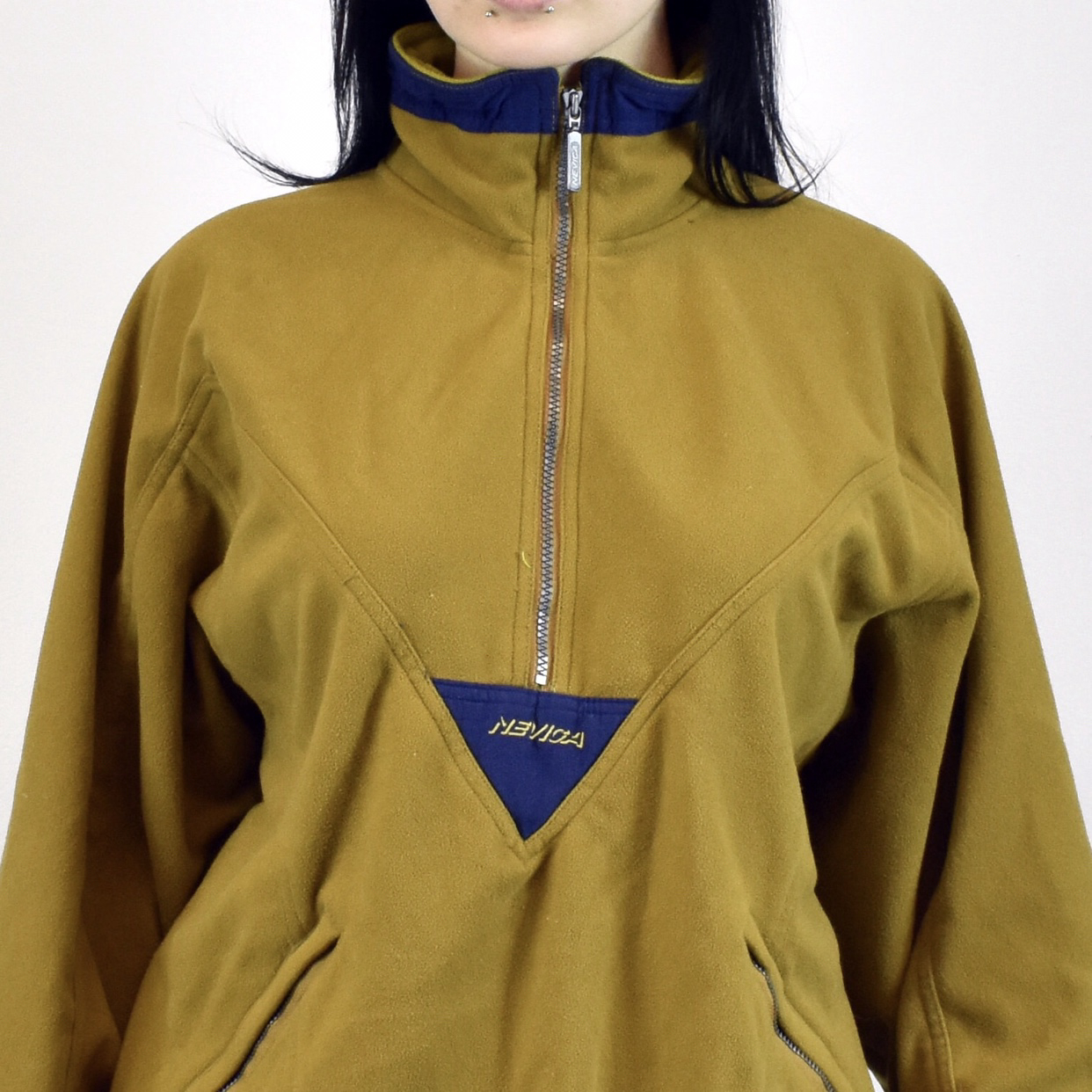 Unisex Vintage Neviga tracksuit track jacket in yellow and navy blue size L