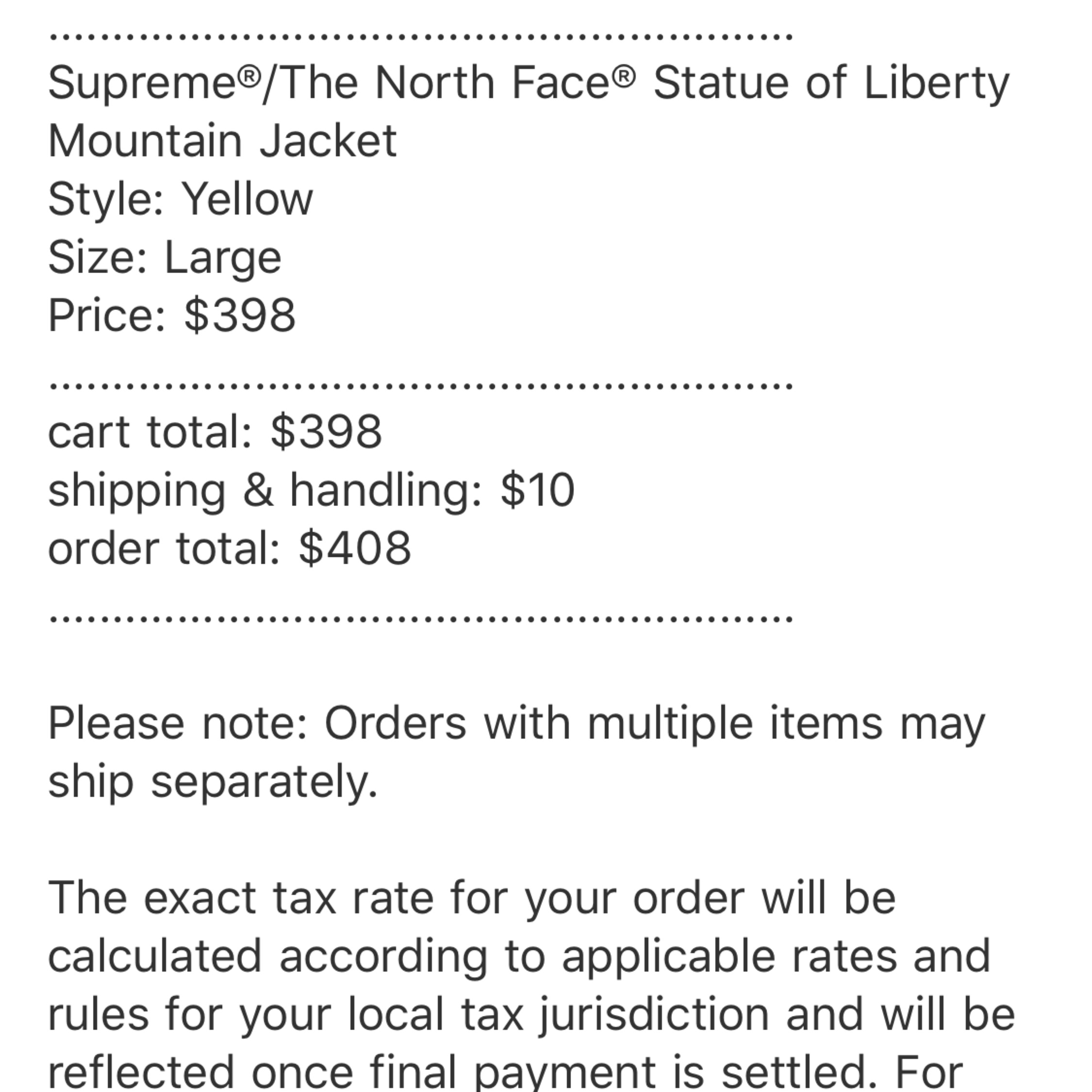 Supremethe North Face Statue Of Liberty Yellow