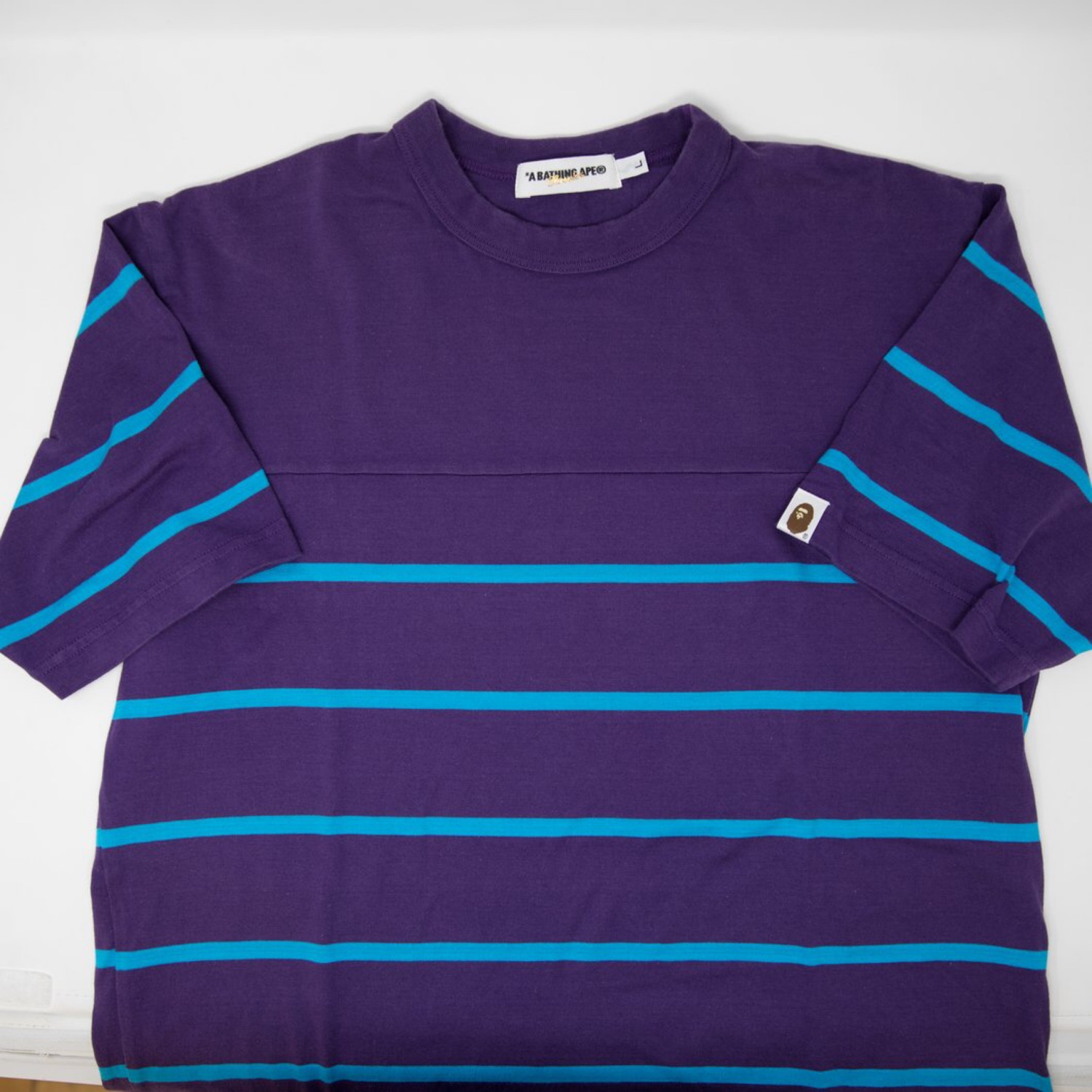 Bape Striped Tee Purple Blue (Used - Large)