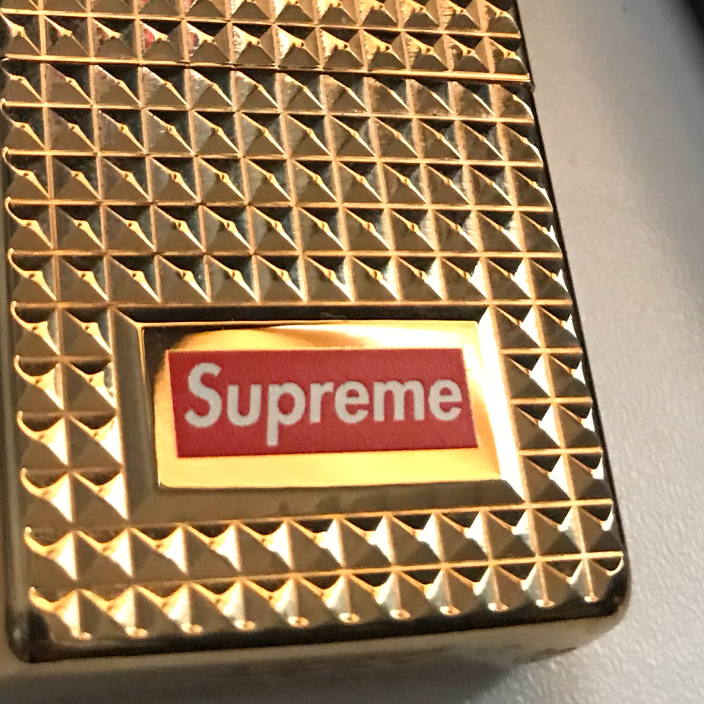 Fw17 Supreme Zippo Diamond Cut Armor Case Lighter