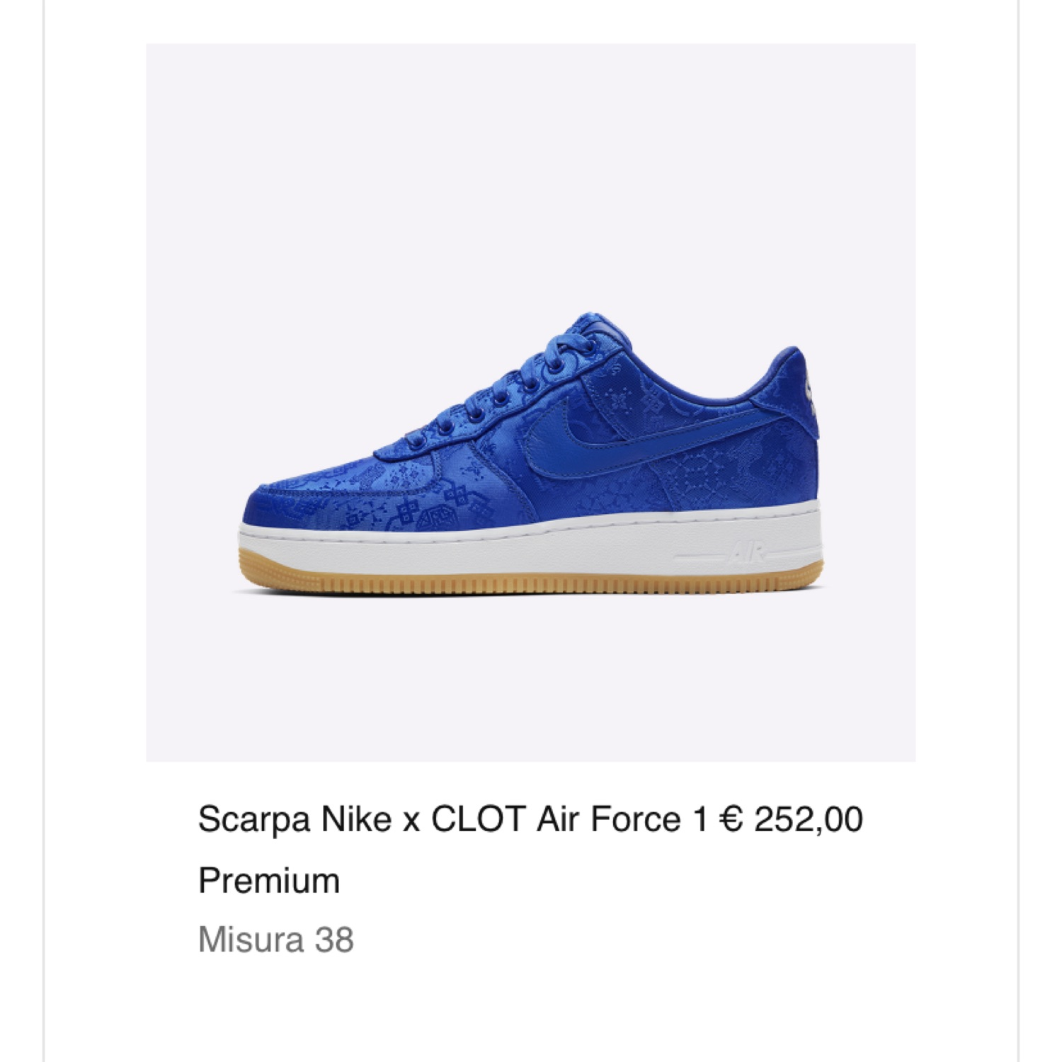air force 1 taglia 38