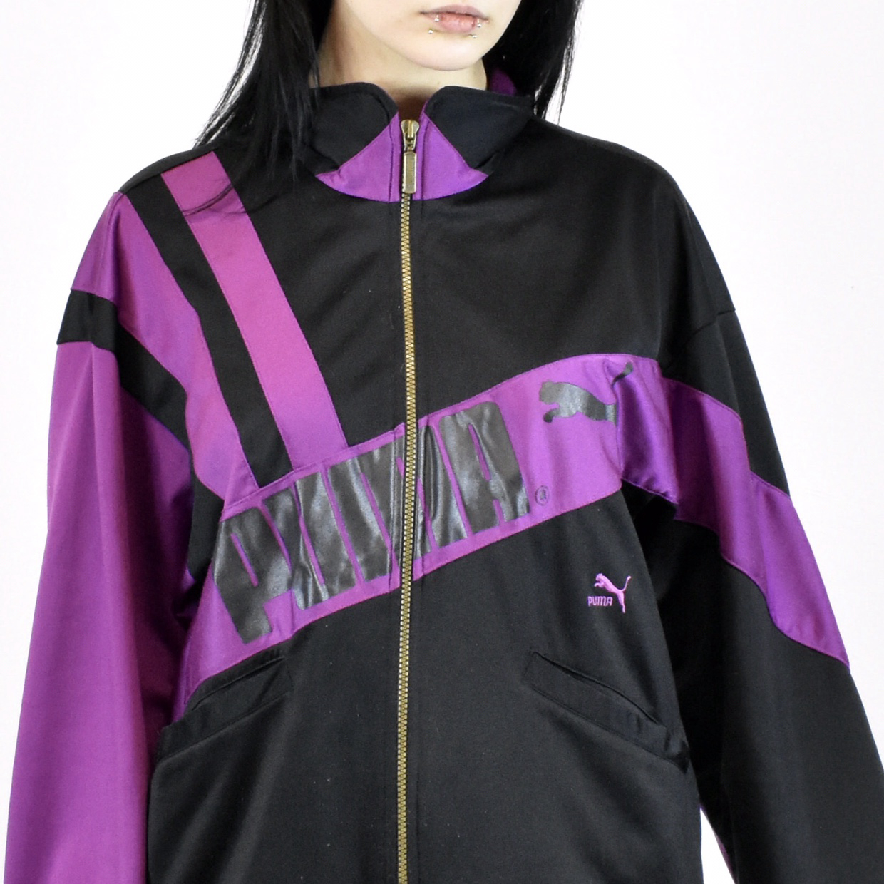 Unisex Vintage Puma track jacket in black and purple size L