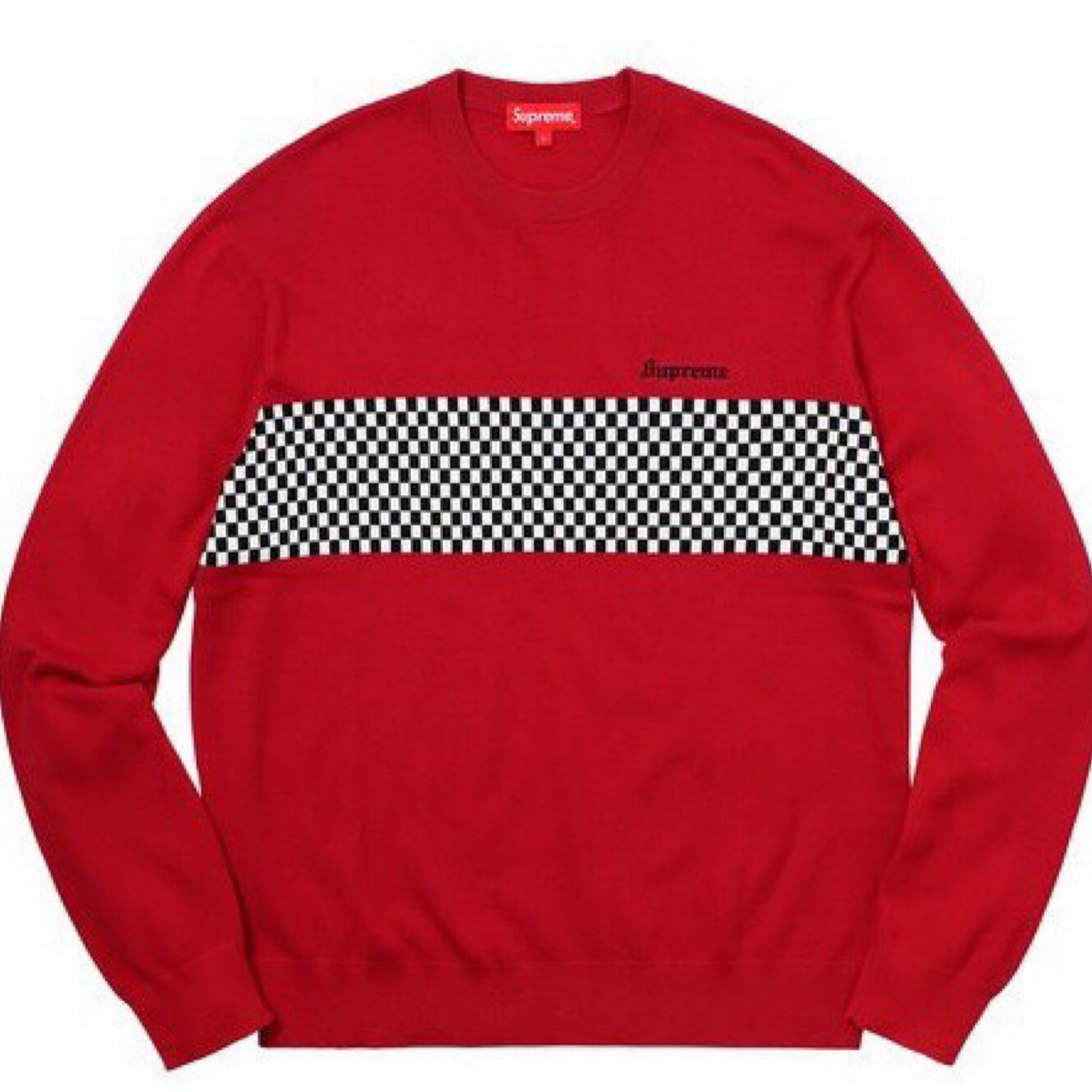 Supreme Checkered Panel Crew Neck
