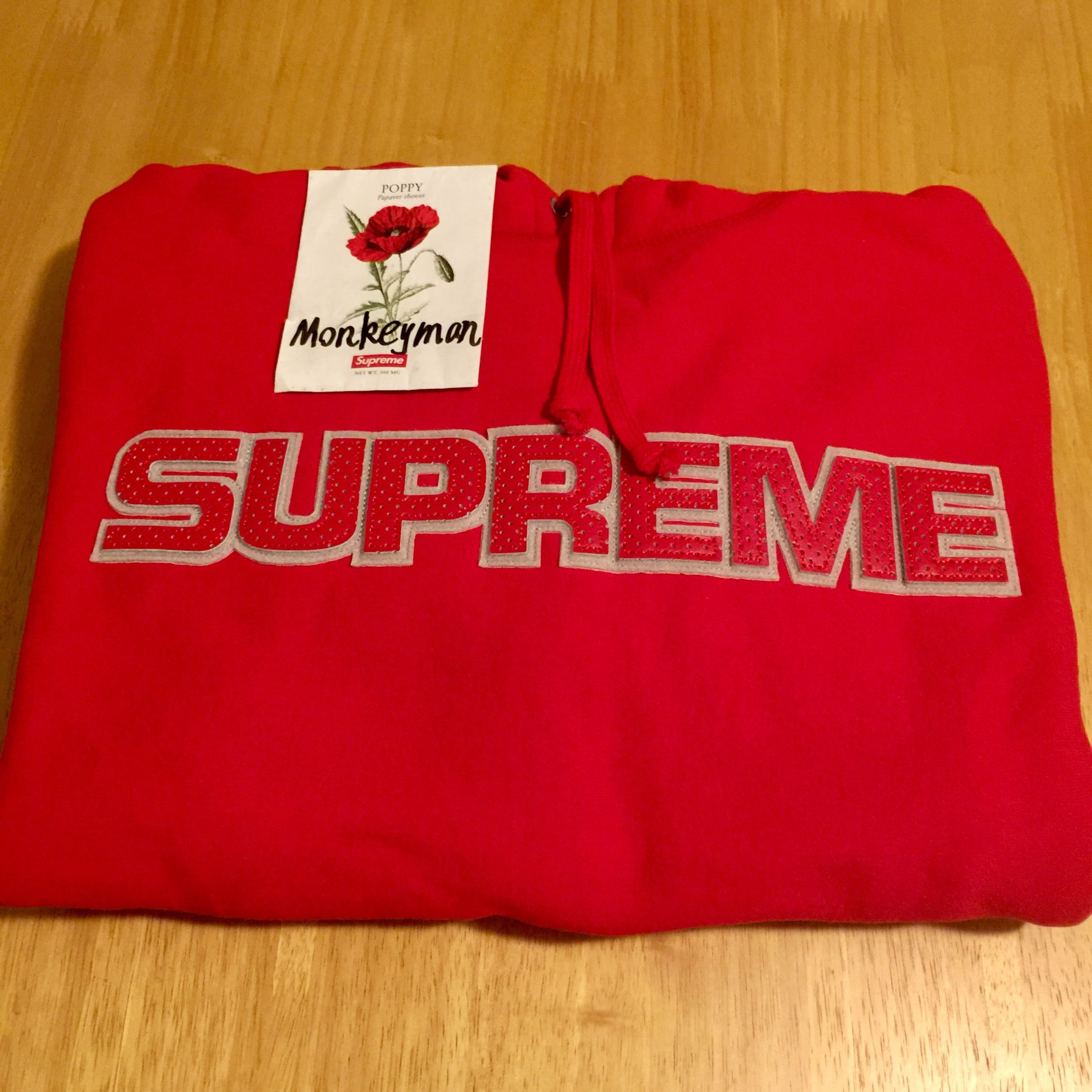 Supreme Perforated Leather Hoodie Red M