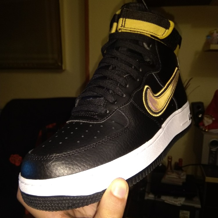Nike Air Force 1 High\u002707 Lv8 Sport Size 9 Nike Air X NBA Black/Metalic Gold  White