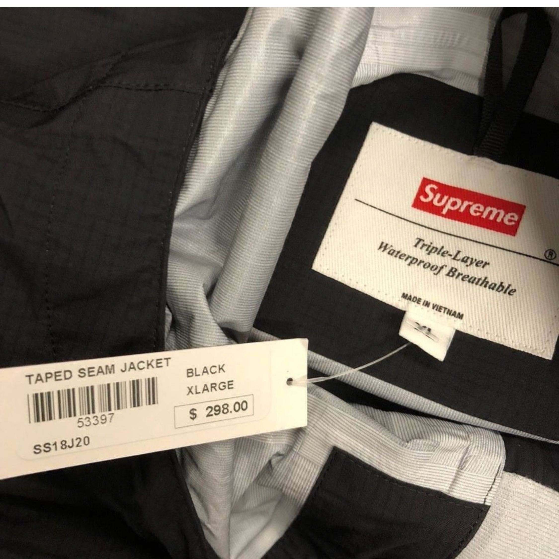 Supreme 18S/S Taped Seam Jacket Black Size Xl