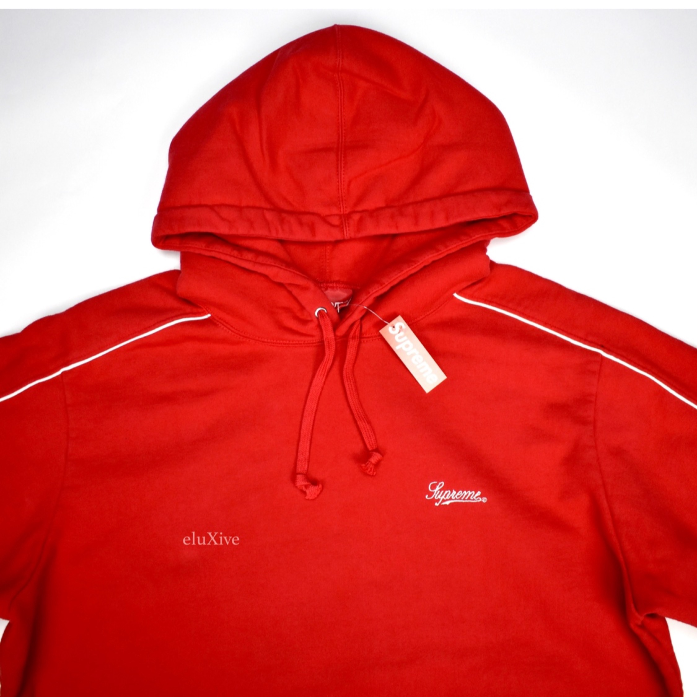Supreme Red Piping Hoodie Script Logo