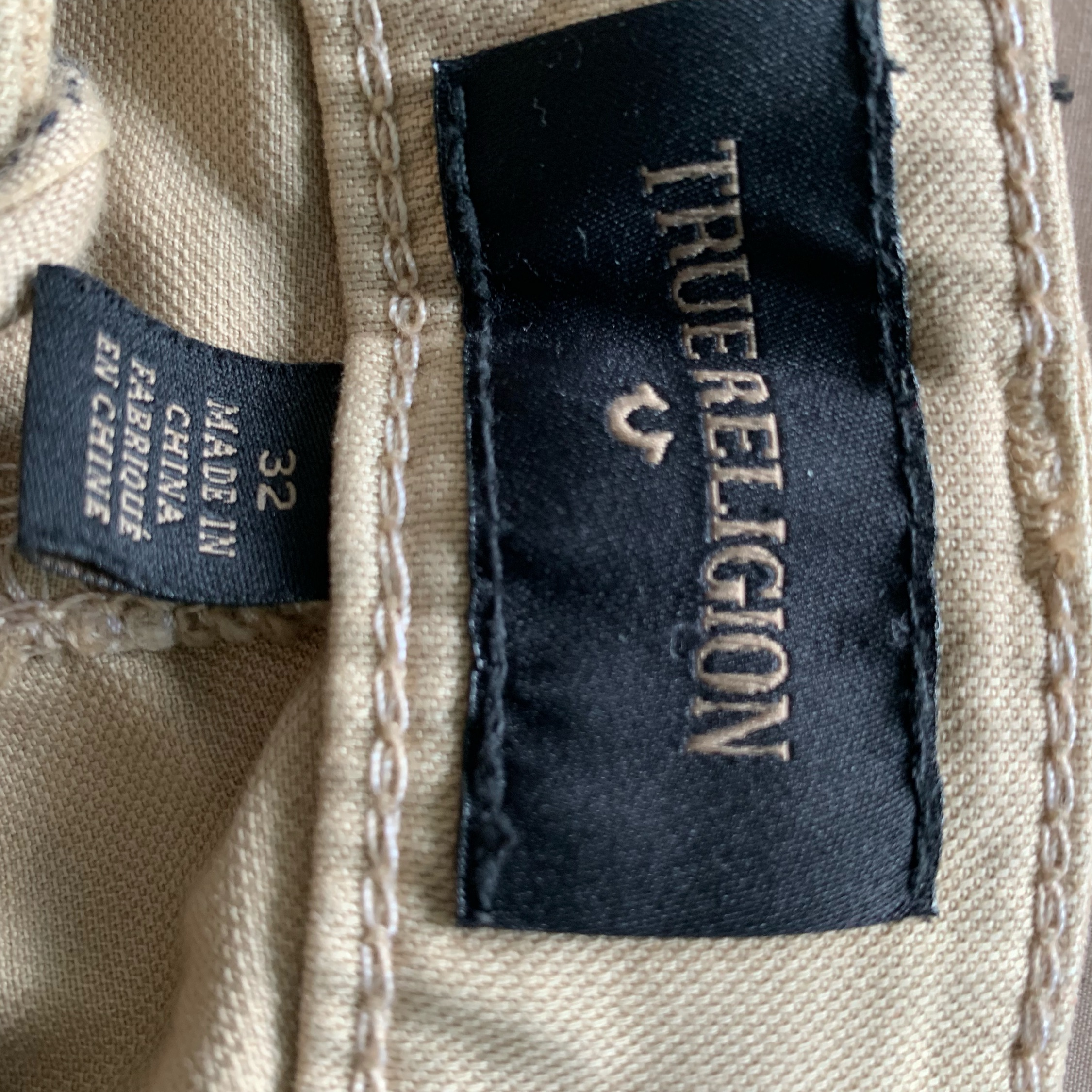 True Religion Cream Chinos 32""