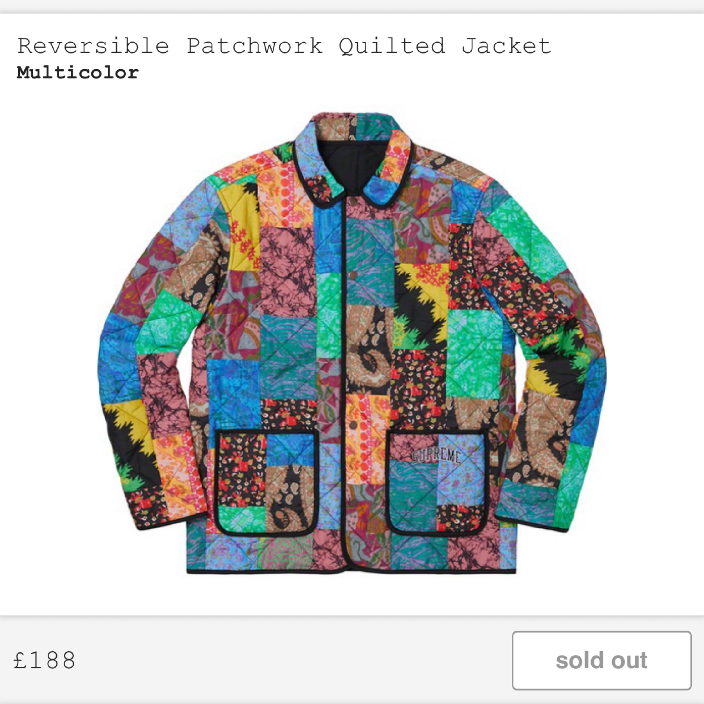 In Hand* Supreme Patchwork Quilted Jacket Medium