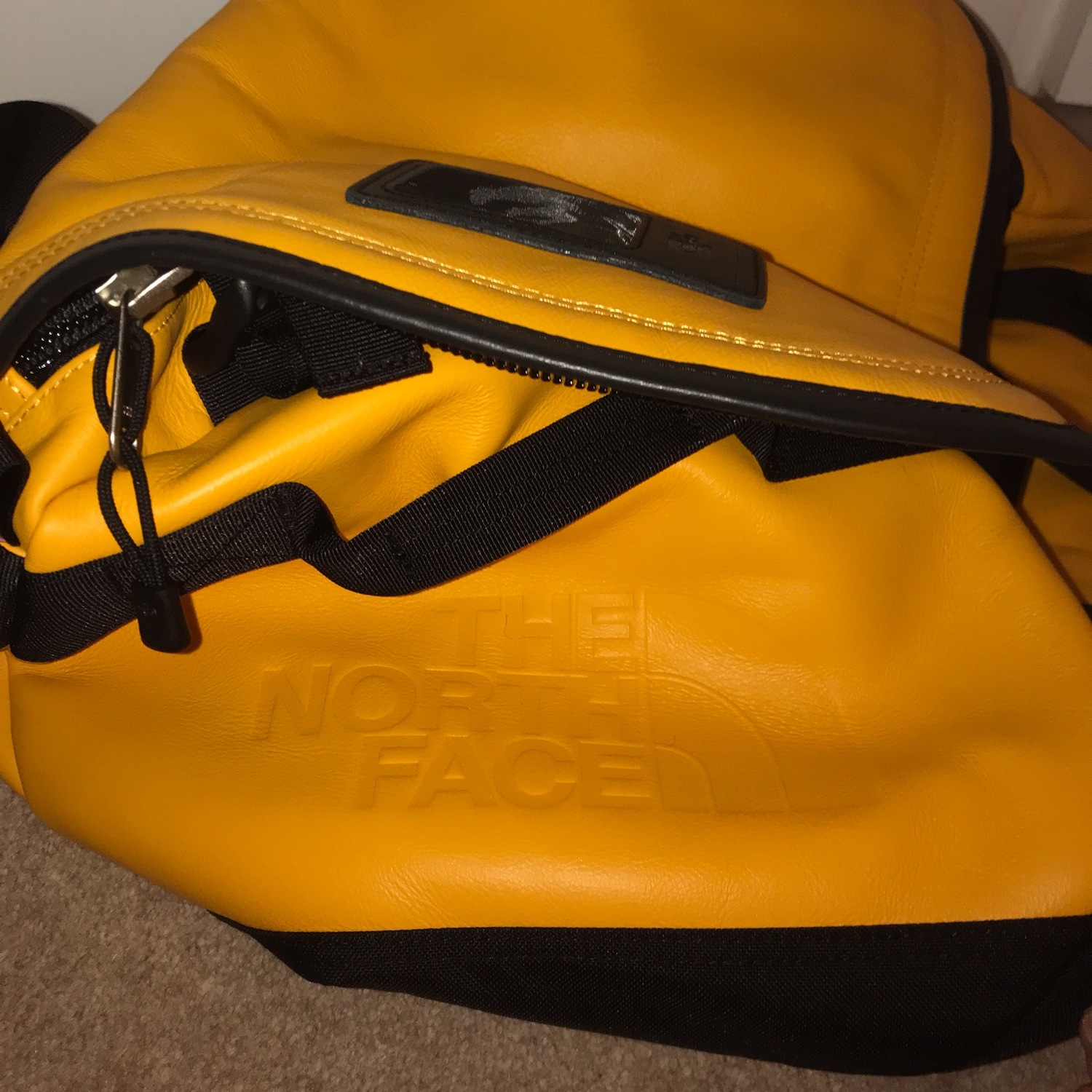 Supreme X North Face Yellow Base Camp Duffle Bag