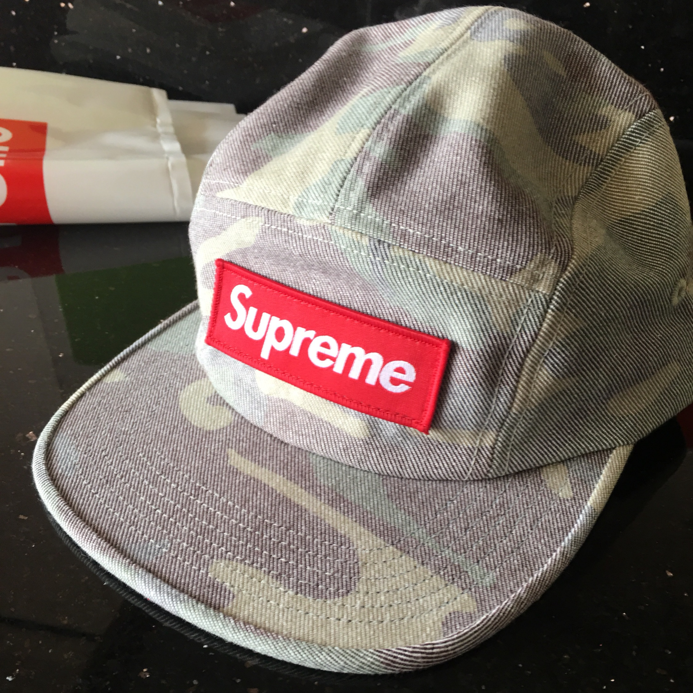 Supreme Washed Out Camo Camp Cap