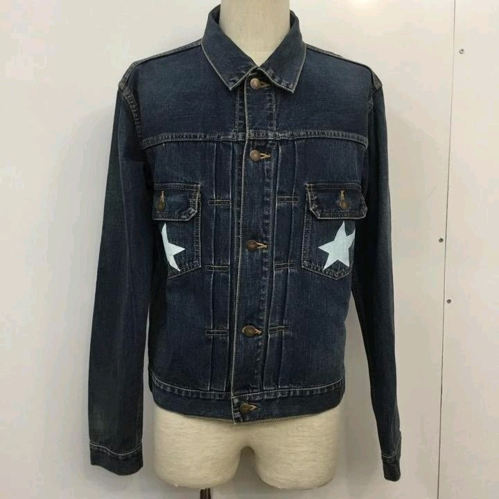 Bape Denim Jackets Indigo Patch Pockets Star Print