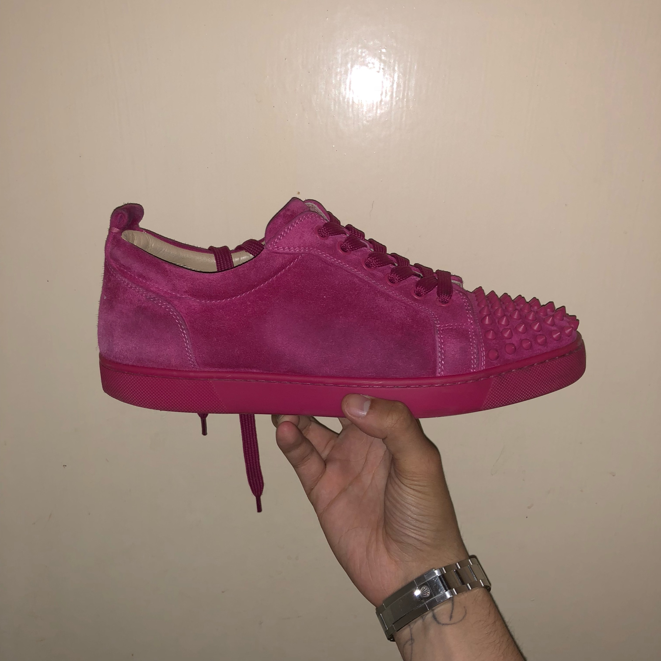 Christian Louboutin Junior Suede Lows Pink