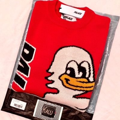 Palace Duck Out Knit Red Large L Woven Pullover