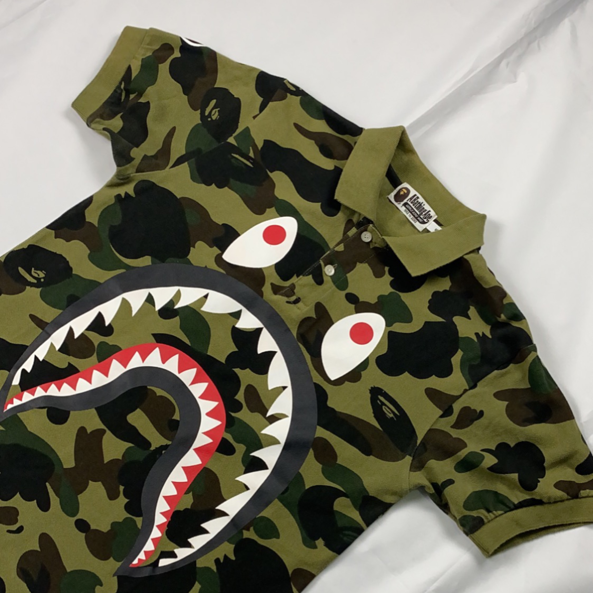 Bape Green Camo Shark Polo