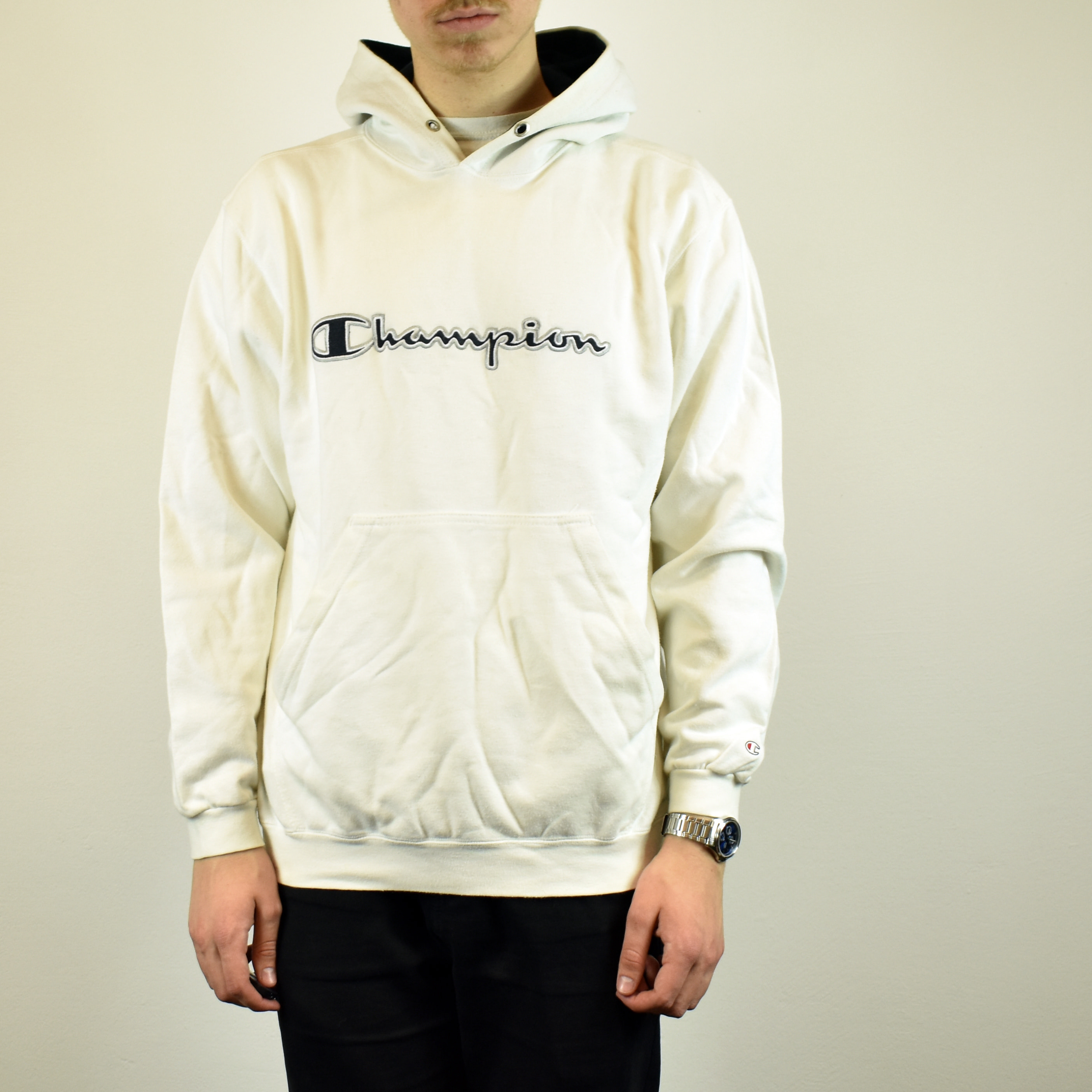 White Features L Champion Unisex Spellout Size Hoodie In Vintage Embroidered u1JFKTlc3
