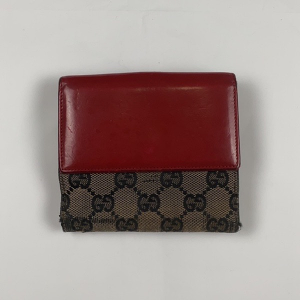 Gucci Vintage Red And Blue Monogram Wallet / Purse