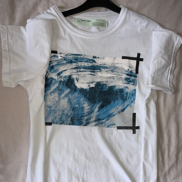 Oversized Men's Off White Top With Ocean Print