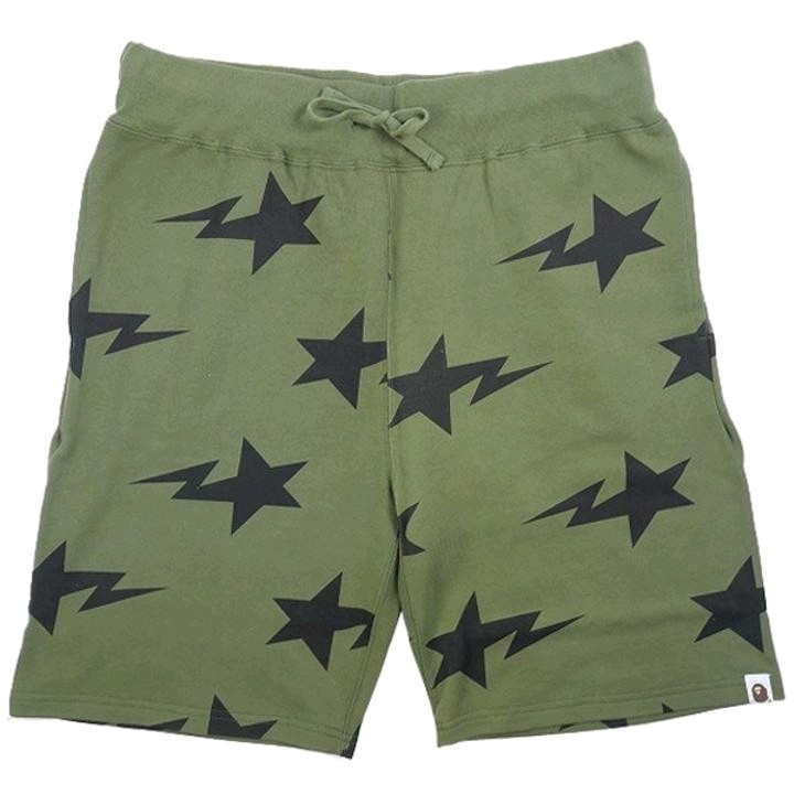 Bape Shorts Khaki Sweat Star Pattern