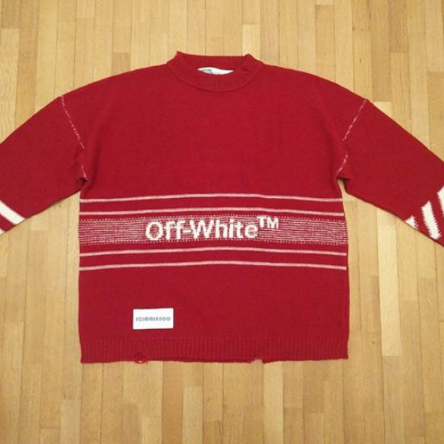 Off White Red Knitwear Fw 18