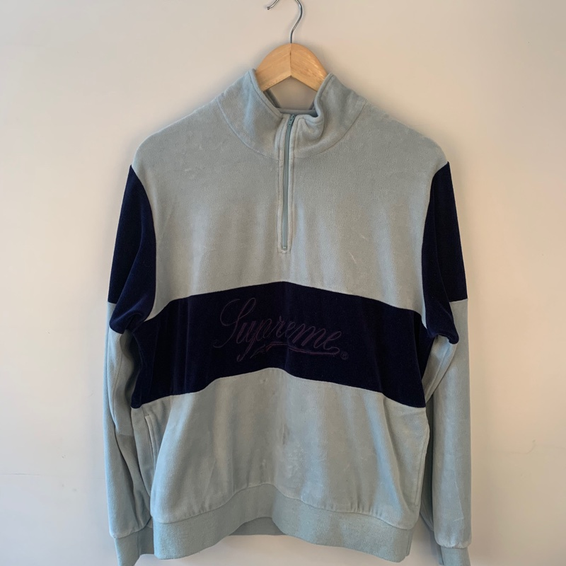 Supreme Velour Pullover Quarter Zip Jacket Blue