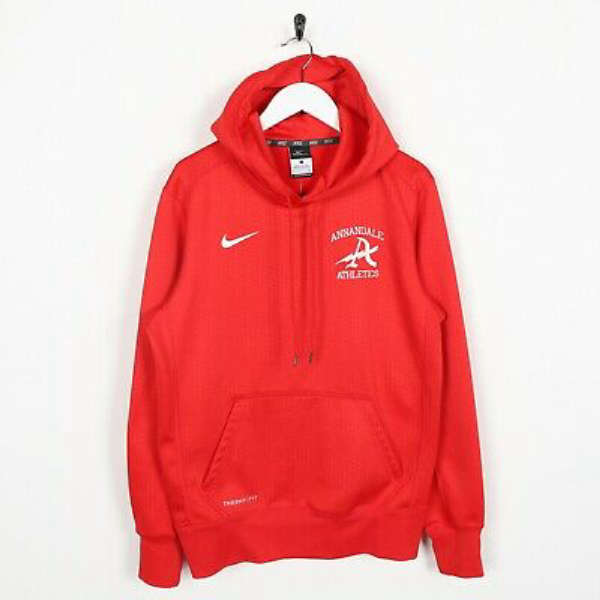 Vintage NIKE Therma-Fit Annandale Athletics Polyester Hoodie Sweatshirt | Small