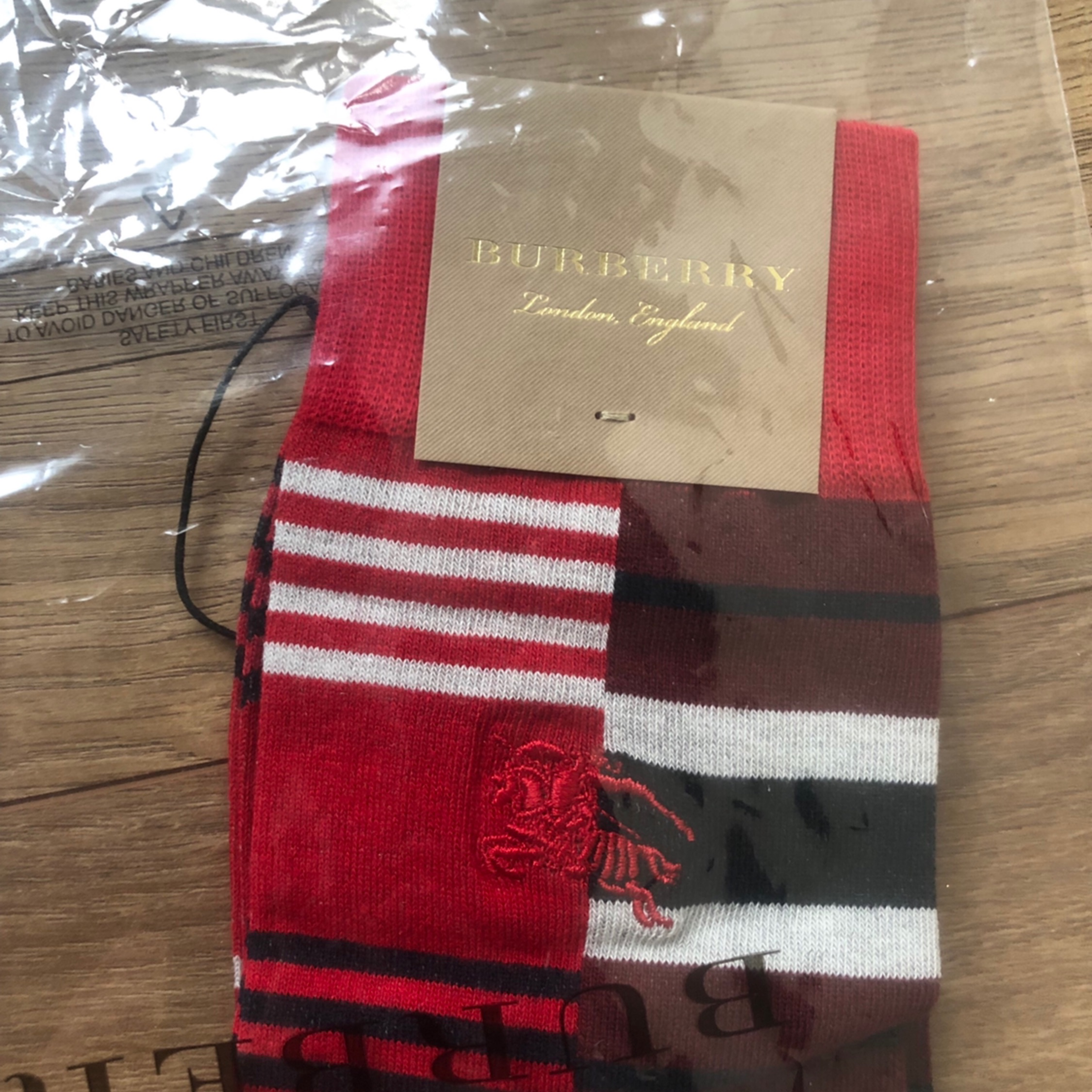Burberry Striped Cotton Dress Sock In Red/Brown